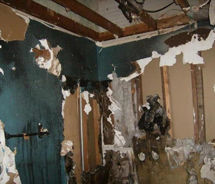 Fire Damaged Bathroom in Clinton, IL Before